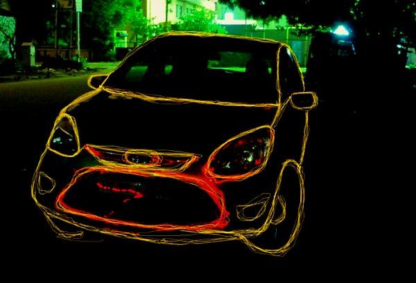 ford figo light painting of car