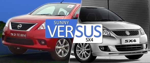 nissan sunny vs maruti suzuki sx4 comparison