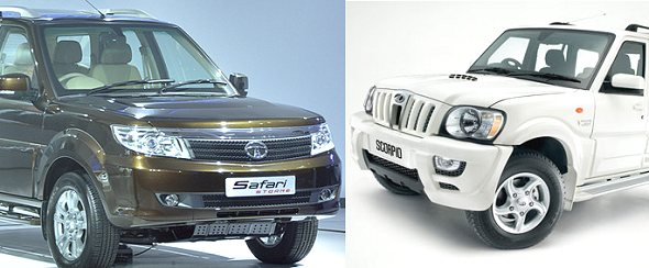 tata safari storme vs mahindra scorpio comparison photo