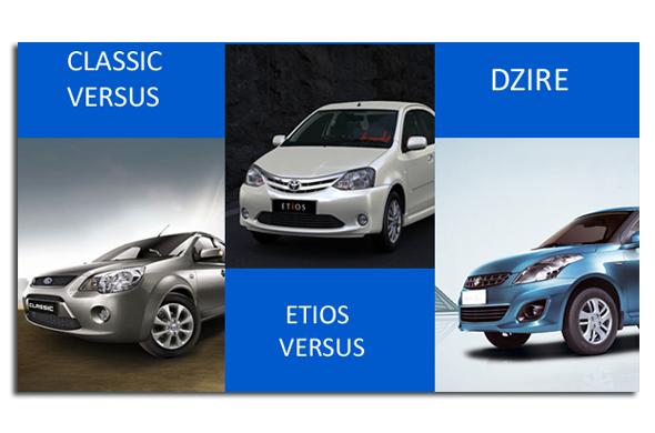 classic versus etios versus dzire
