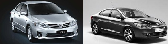 cheapest premium diesel sedans fluence and corolla