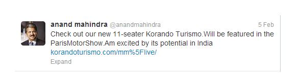 anand mahindra ssangyong korando turismo tweet
