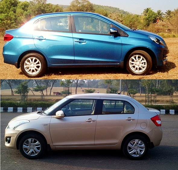 Honda Amaze vs Maruti dzire photo