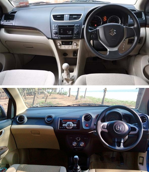 honda amaze vs dzire interior photo