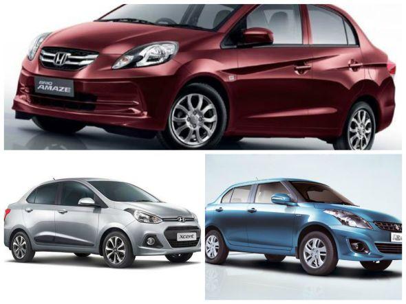 Hyundai Xcent Petrol vs Maruti Dzire and Honda Amaze compact sedans – Spec comparison