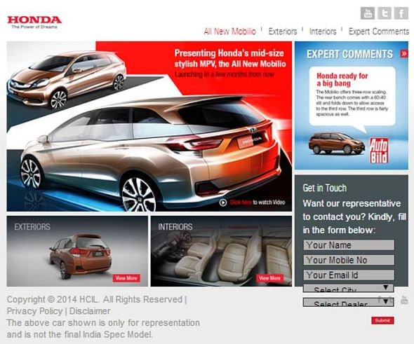 Screengrab of Honda Mobilio's Promotional Webpage Pic