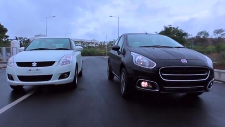 Fiat Punto Evo vs Maruti Swift video comparison