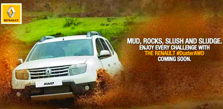 Renault Duster Four Wheel Drive SUV Teasers Out