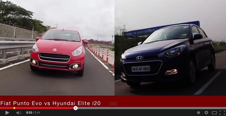 Fiat Punto Evo vs Hyundai Elite i20 video comparison