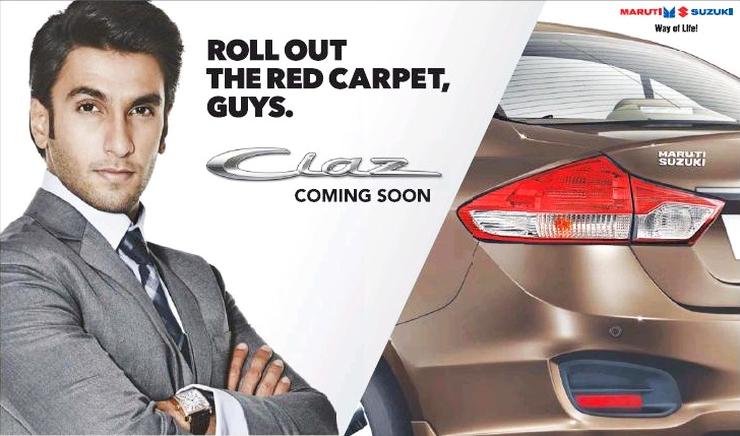 This is the Maruti Suzuki Ciaz being promoted by Ranveer Singh
