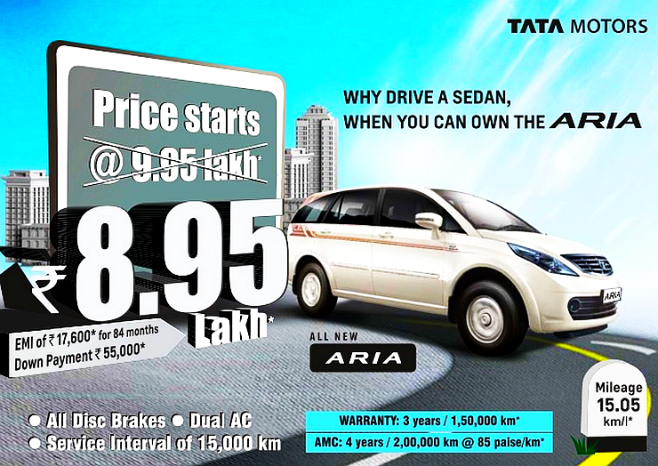 Tata Aria crossover gets yet another price drop; Now available for 8.95 lakh rupees