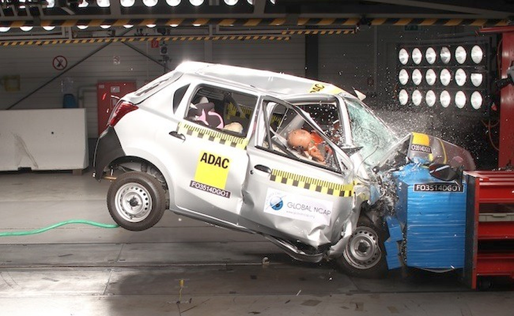 Datsun Go in a Global NCAP Test Picture