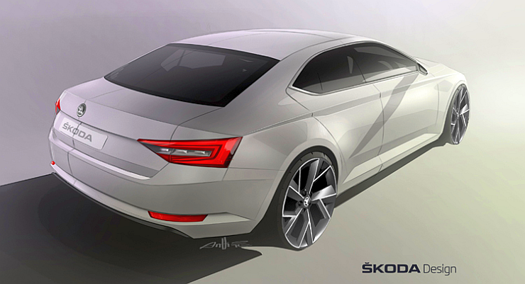 2016 Skoda Superb Rear Sketch
