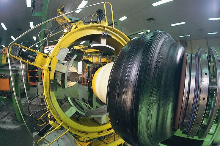 A tyre being assembled