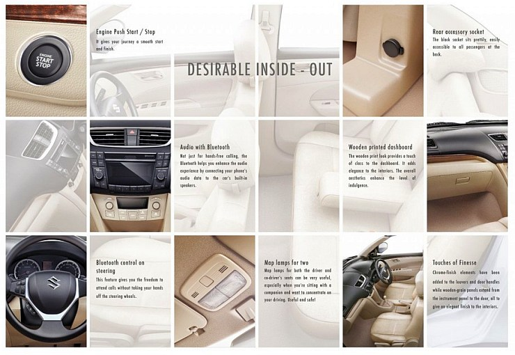 2015 Maruti Suzuki Dzire Interior Highlights