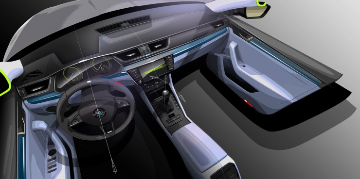 2016 Skoda Superb Interiors Sketch