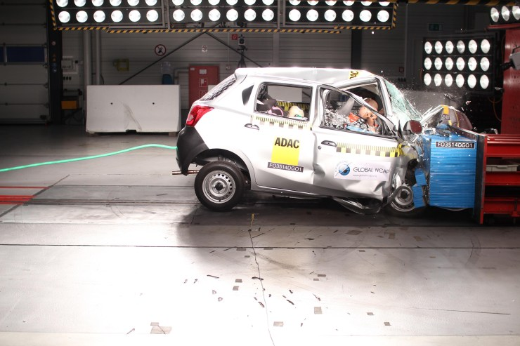 A Datsun Go in the Global NCAP Crash Test