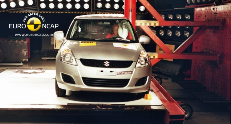 A Suzuki Swift in a Euro NCAP Side Impact Test