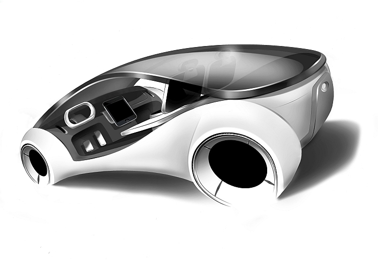 Apple Electric iCar Render Rear