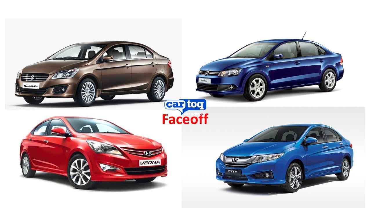 Comparison: Honda City vs Maruti Ciaz vs Hyundai Verna Fluidic 4S vs Volkswagen Vento
