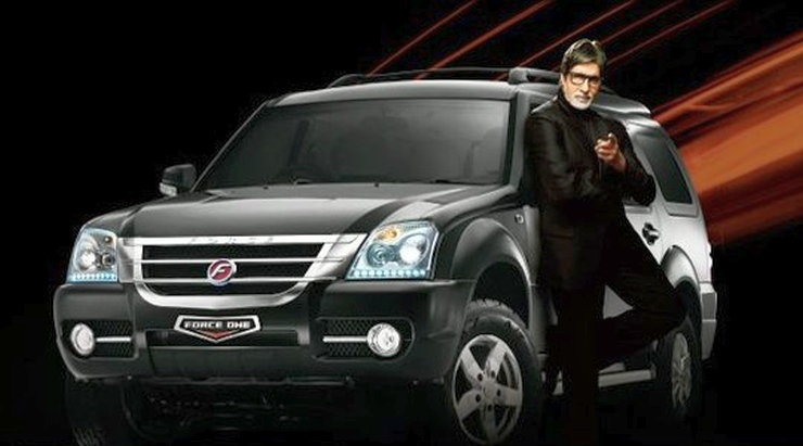 Amitabh Bachchan with the Force One SUV
