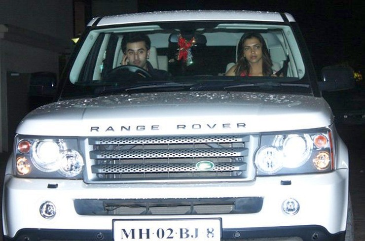 Ranbir Kapoor and Deepika Padukone in a Range Rover Sport Luxury SUV