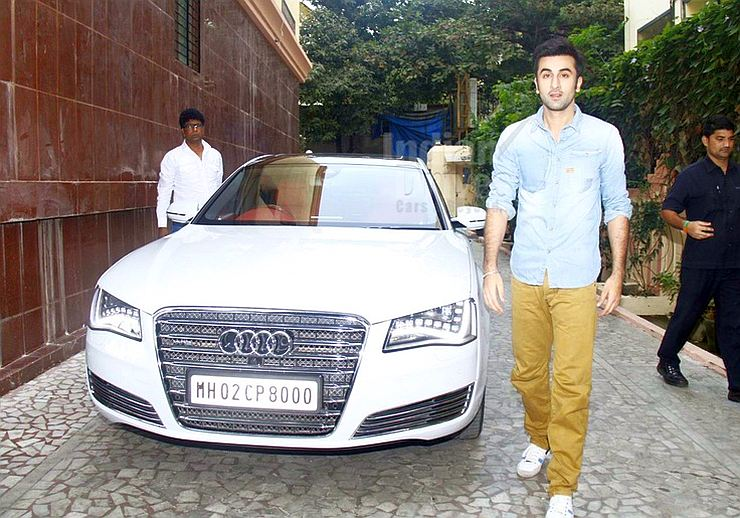 Ranbir Kapoor with his Audi A8 Luxury Saloon