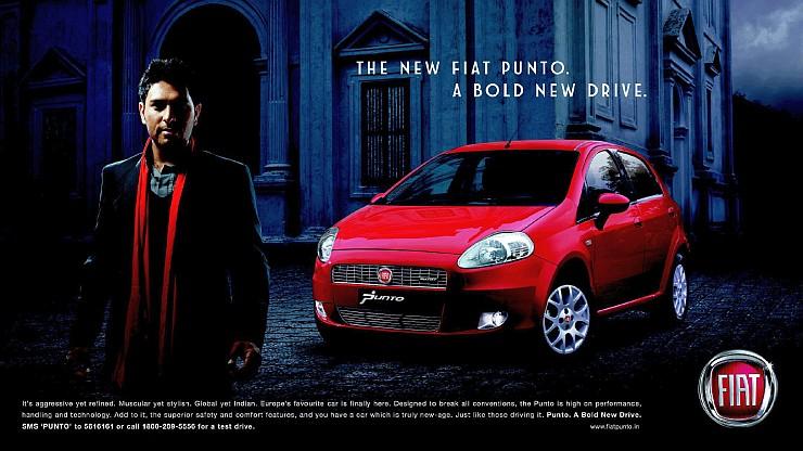Yuvraj Singh with the Fiat Punto