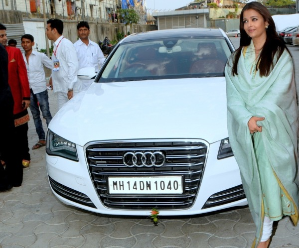Aishwarya Rai with her Audi A8 Luxury Saloon