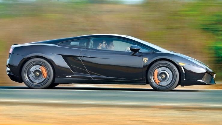 John Abraham in his Lamborghini Gallardo