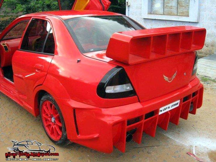 Mitsubishi Lancer with massive spoiler