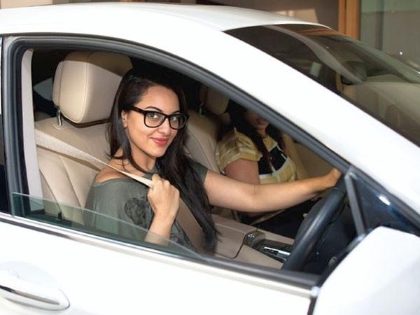 Sonakshi Sinha in her BMW 5-Series GT