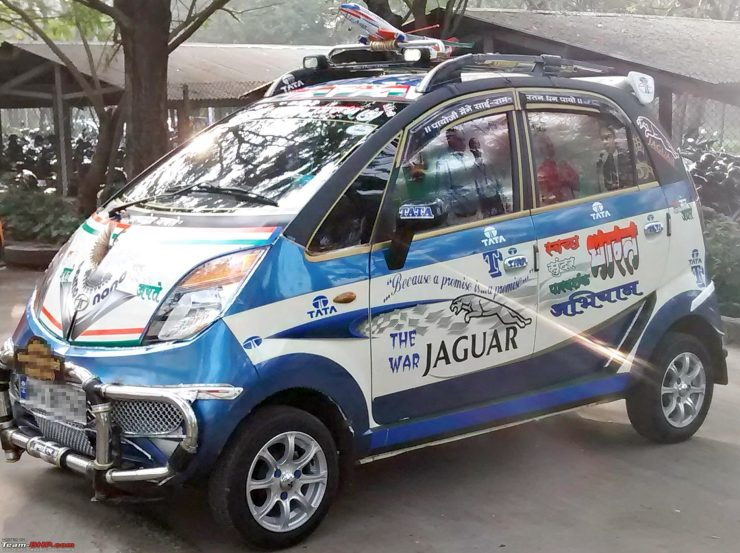 Tata Nano with stickers