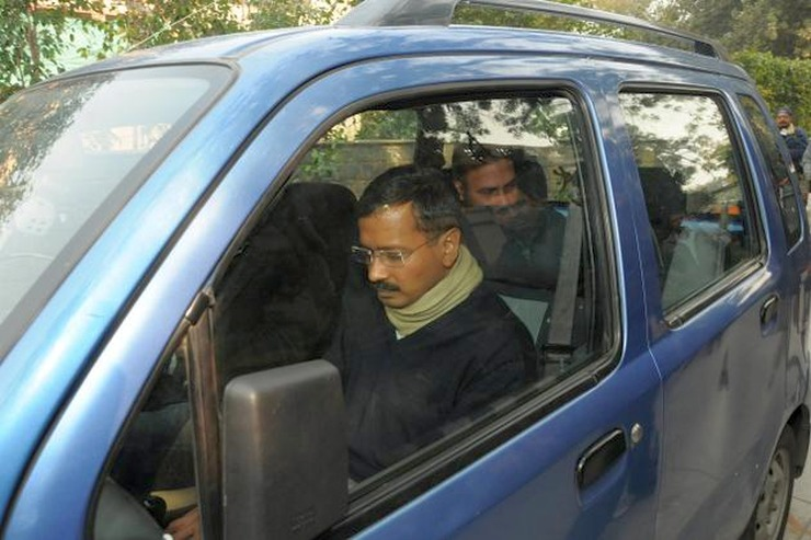 Arvind Kejriwal in his Maruti WagonR