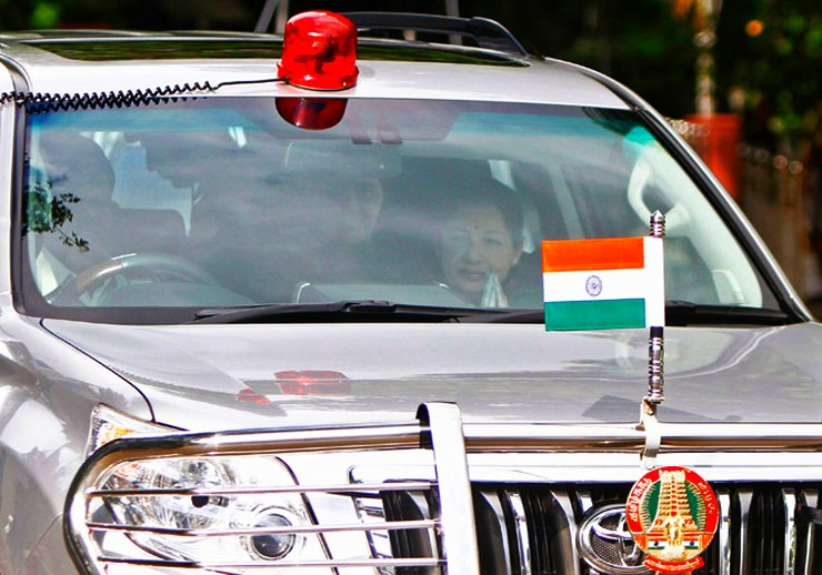Jayalalithaa in the Toyota Land Cruiser Prado