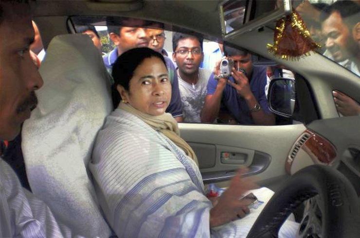 Mamata Bannerjee in her Toyota Innova