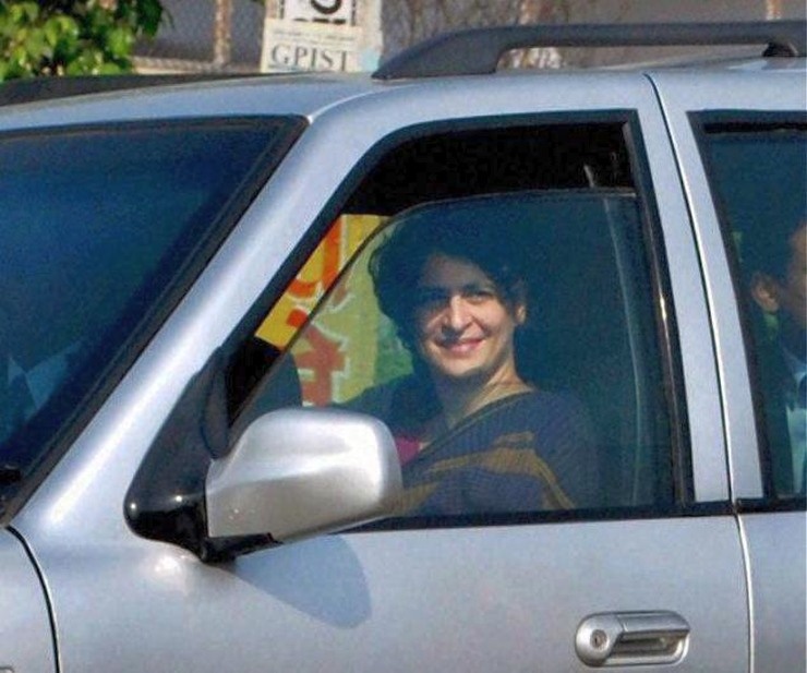 Priyanka Gandhi in a Tata Safari