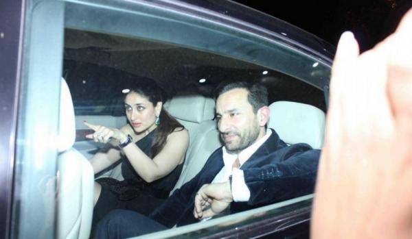 Saif Ali Khan and Kareena Kapoor in a BMW 7-Series