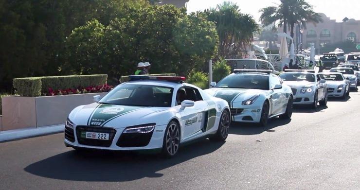 The Audi R8 leading the Dubai Police Car Fleet
