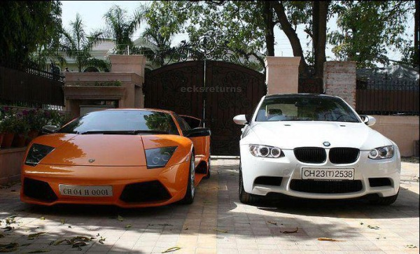 Yuvraj Singh's Lamborghini Murcielago and the BMW 3-Series 320d