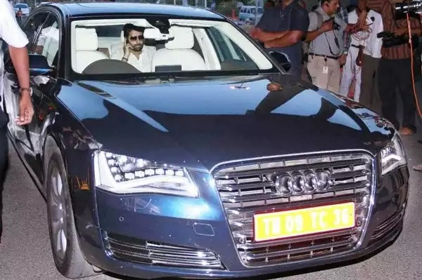 Abhishek Bachchan in an Audi A8 Blue