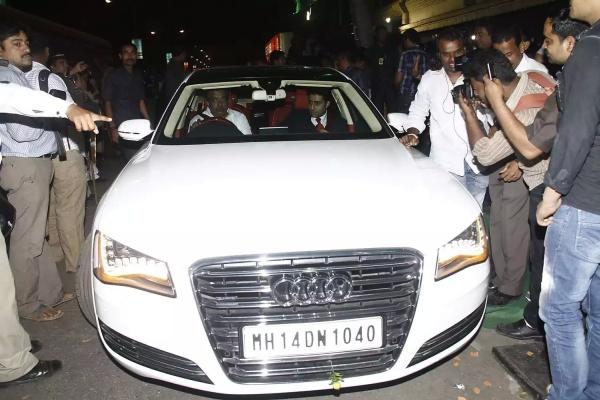 Abhishek Bachchan in an Audi A8 L