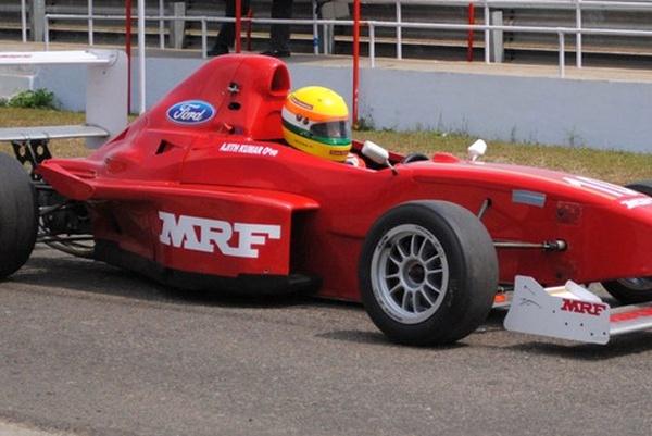 Ajith Kumar racing in the Formula MRF Single Seat Race Car