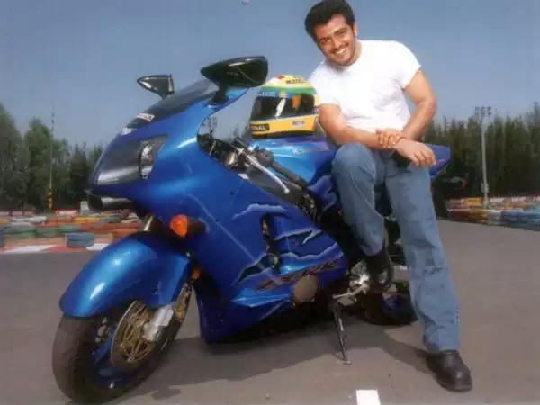 Ajith Kumar with his Kawasaki ZX14 R