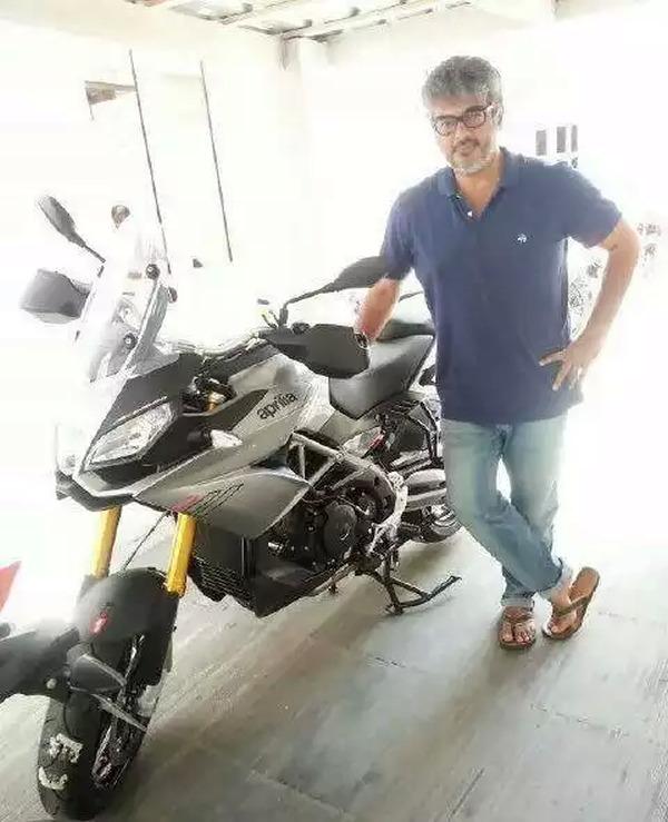 Ajith Kumar with the Aprilia Caponard 1200