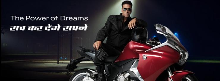 Akshay Kumar with the Honda VFR