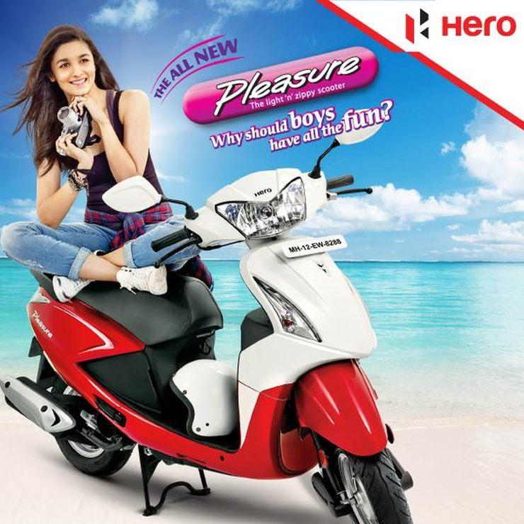 Alia Bhatt with the Hero Motorcorp Pleasure