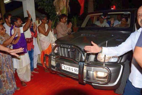 Anandiben Patel in her Mahindra Scorpio