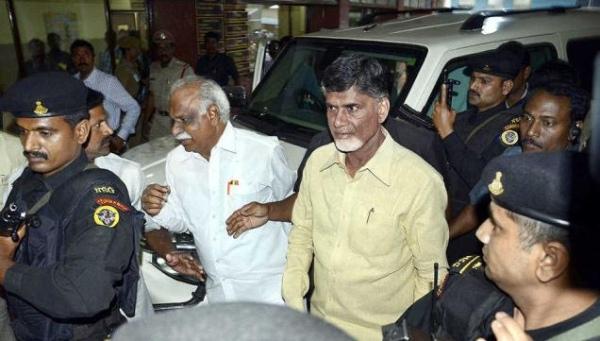 Chandrababu Naidu with his Mahindra Scorpio