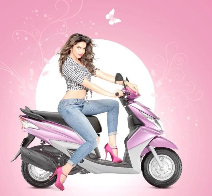 Deepika Padukone with the Yamaha Ray